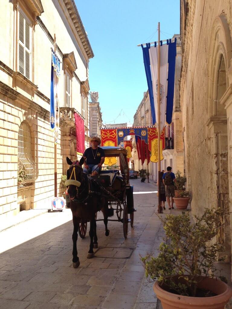 イムディーナの街並みを走り抜ける馬車